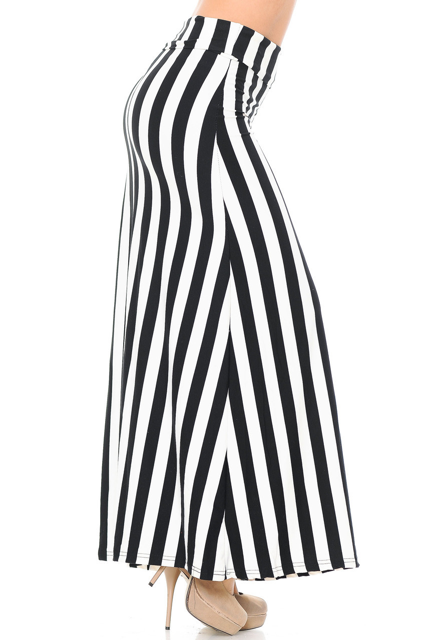 Right side if Buttery Soft Black and White Wide Stripe Plus Size Maxi Skirt with a comfy and soft feel and an elevated look.