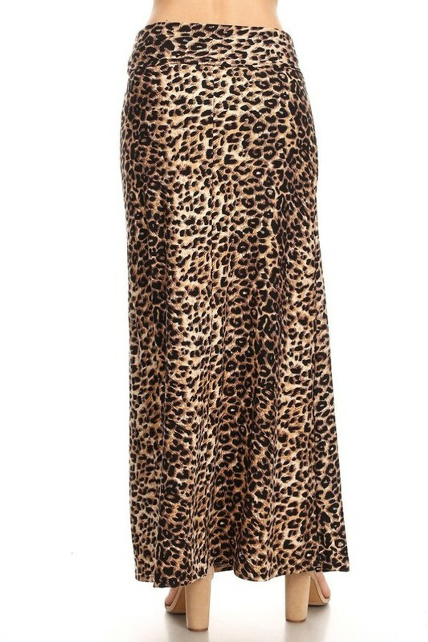 Back side image of Buttery Soft Feral Cheetah Plus Size Maxi Skirt with a classic brown animal print design.
