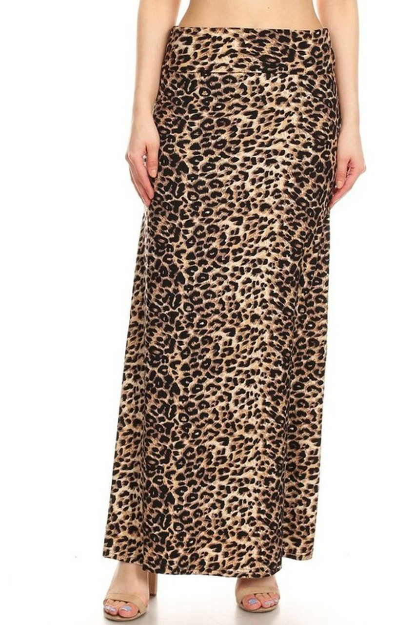 Front side image of Buttery Soft Feral Cheetah Plus Size Maxi Skirt with a high waist design.