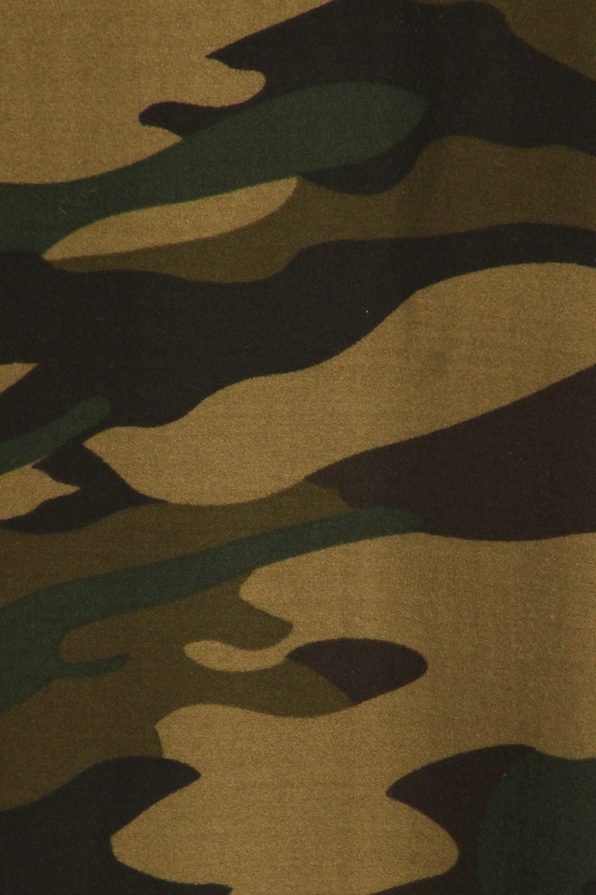 Close-up fabric swatch of Buttery Soft Green Camouflage Maxi Skirt