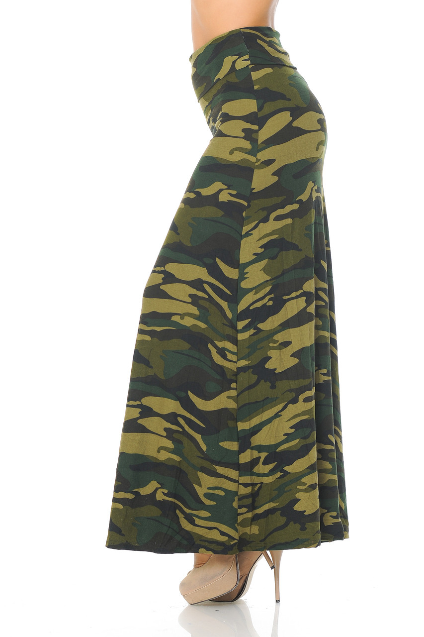 Left side of Buttery Soft Green Camouflage Maxi Skirt with a look that can be easily dressed up or down.