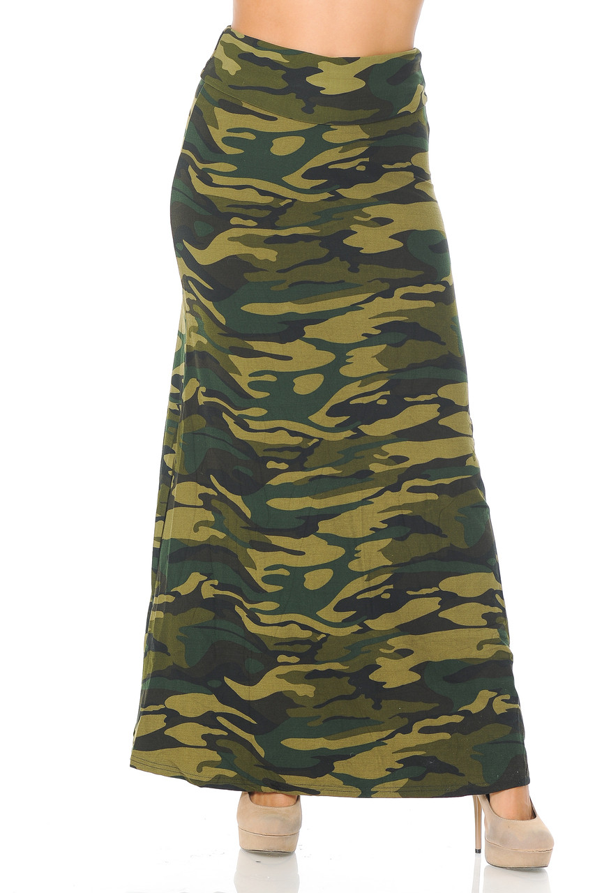 Front of Buttery Soft Green Camouflage Maxi Skirt offering amazing style for any season.