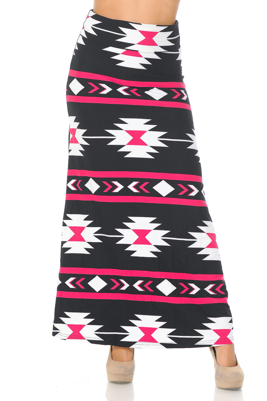 Front of Buttery Soft Mint on Black Aztec Tribal Maxi Skirt with a high contrast white and pink on black design.
