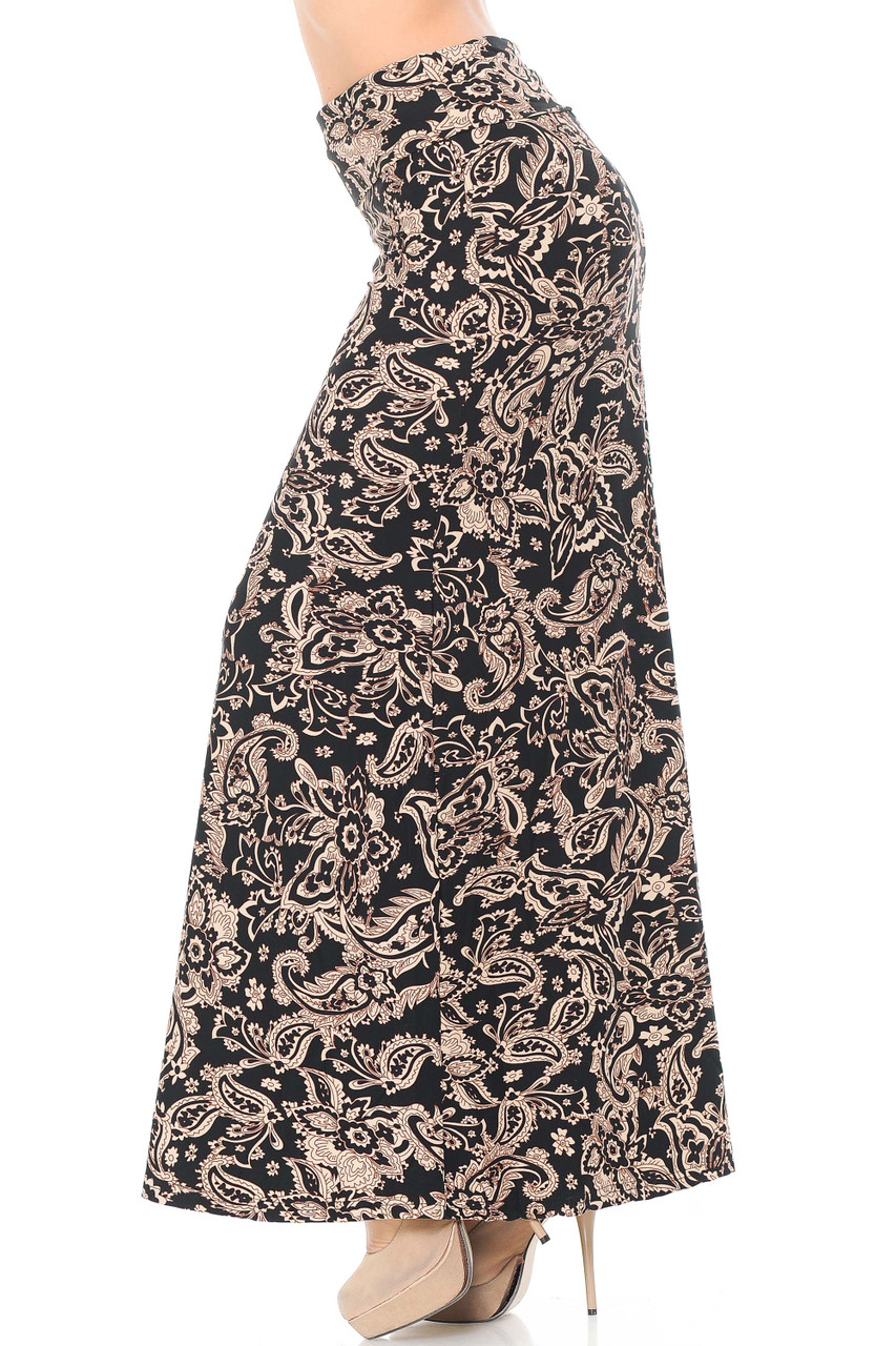 Left side of Buttery Soft Sand Pepper Paisley Plus Size Maxi Skirt with a gorgeous all over paisley design in an easy to style neutral color scheme.