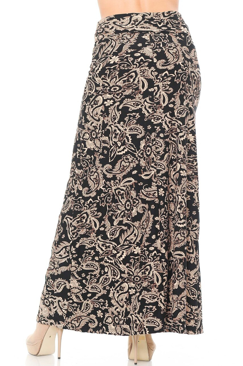 Back side image of Buttery Soft Sand Pepper Paisley Plus Size Maxi Skirt with a loose fit and high fabric waist design.