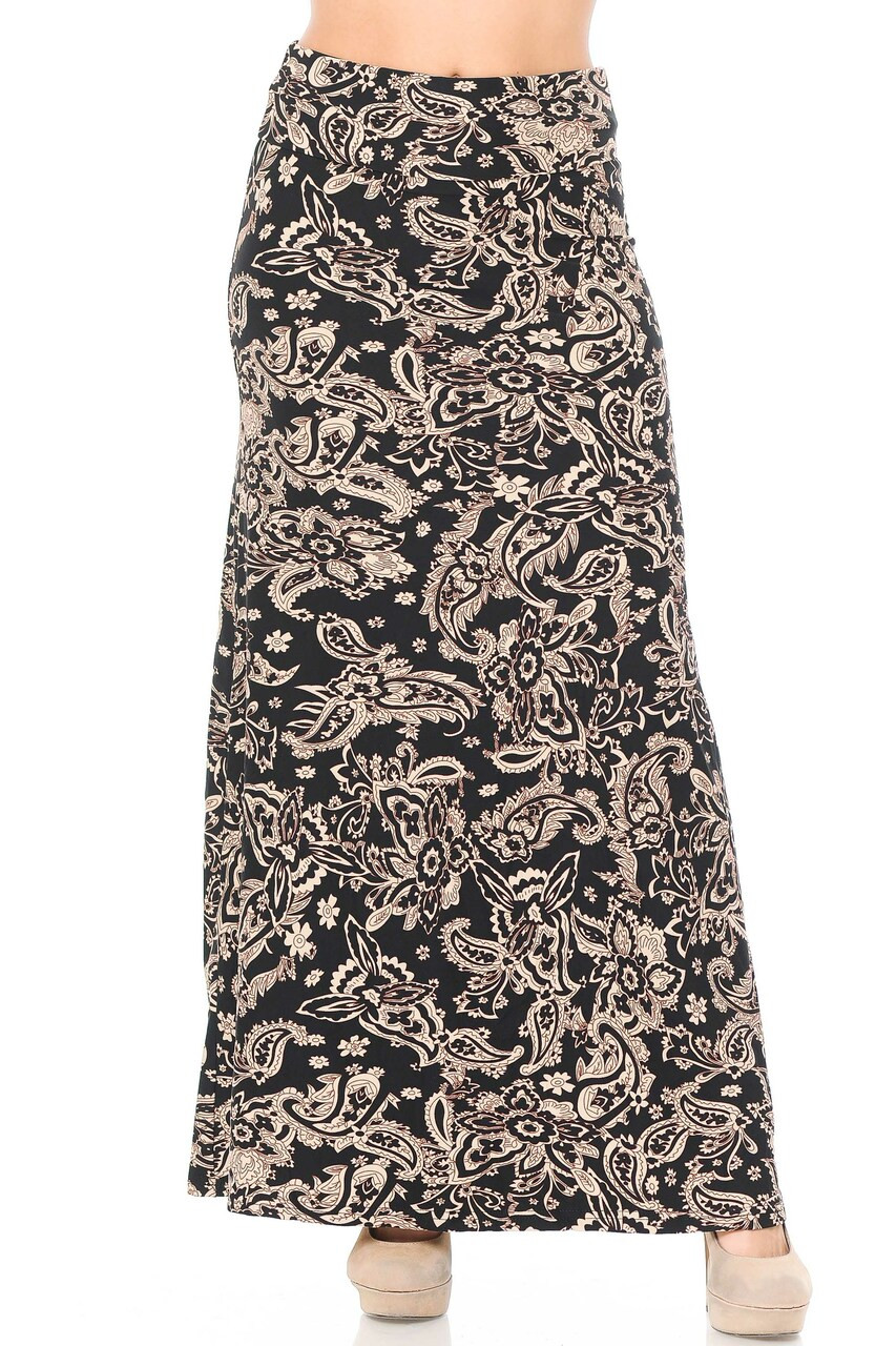Front side image of Buttery Soft Sand Pepper Paisley Plus Size Maxi Skirt with a silky soft to the touch fabric.