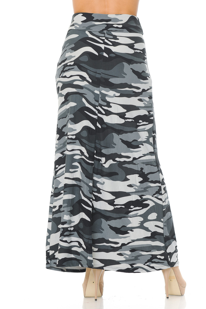 Back side of Buttery Soft Charcoal Camouflage Plus Size Maxi Skirt with a cool camo print design.