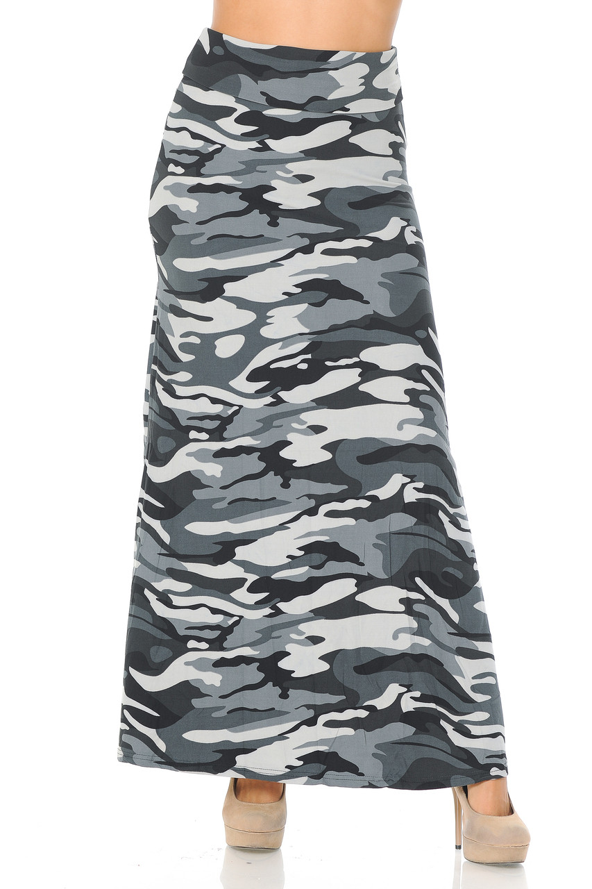 Front of Buttery Soft Charcoal Camouflage Plus Size Maxi Skirt with a high waist and always in style design.