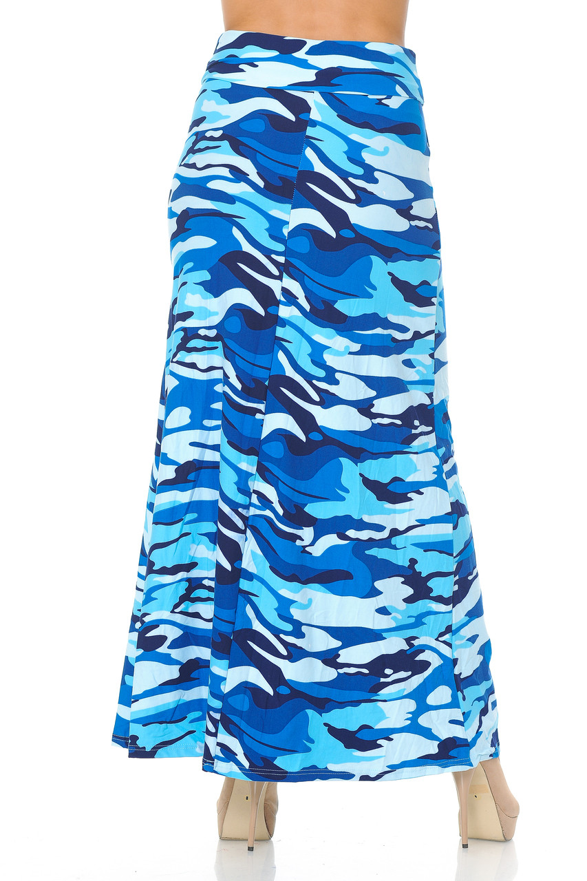 Back side image of Buttery Soft Blue Camouflage Plus Size Maxi Skirt with a fabulous and eye-catching camo print.