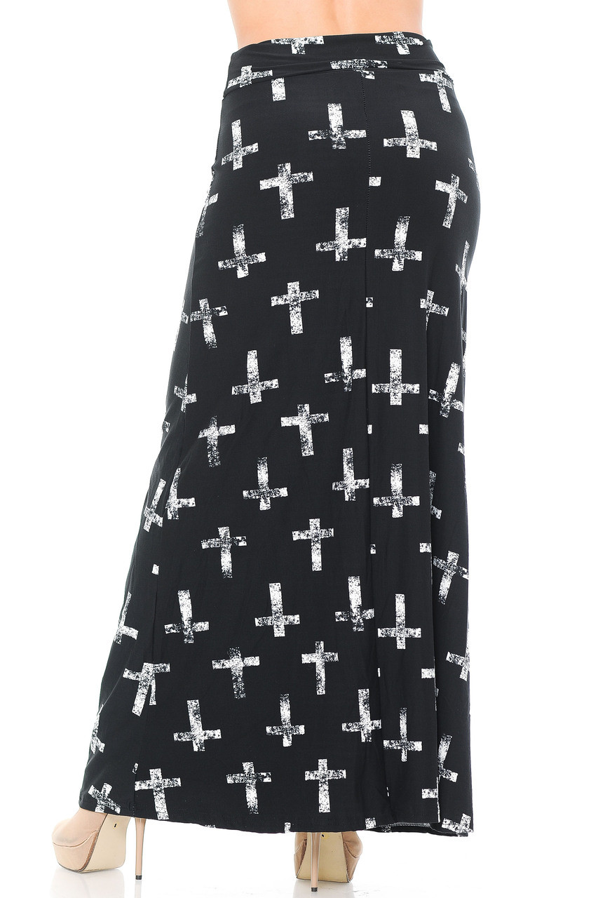 Back of Buttery Soft Faded Cross Maxi Skirt with a high figure flattering waist design.