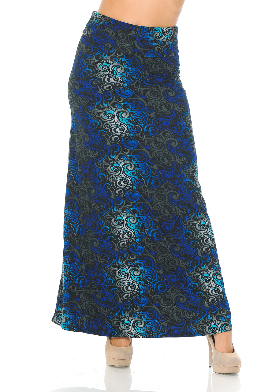 Front side image of Buttery Soft Blue Tangled Swirl Plus Size Maxi Skirt with a flattering high waist design.