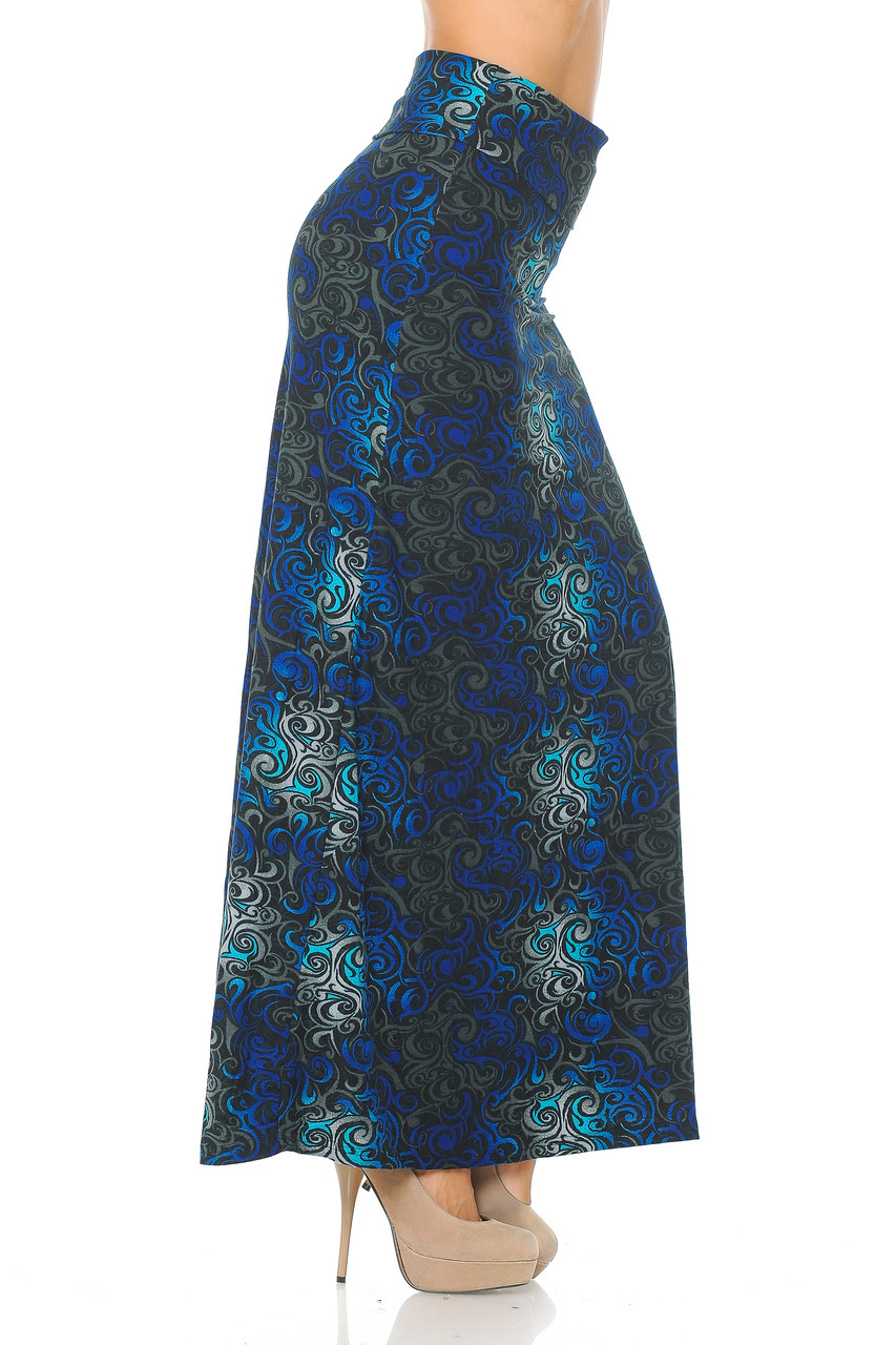 RIght side image of Buttery Soft Blue Tangled Swirl Plus Size Maxi Skirt with a wonderful soft to the touch feel and comfortable looser fit.