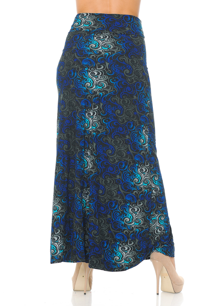Back side of Buttery Soft Blue Tangled Swirl Plus Size Maxi Skirt with a long hem that goes past ankle length depending on height