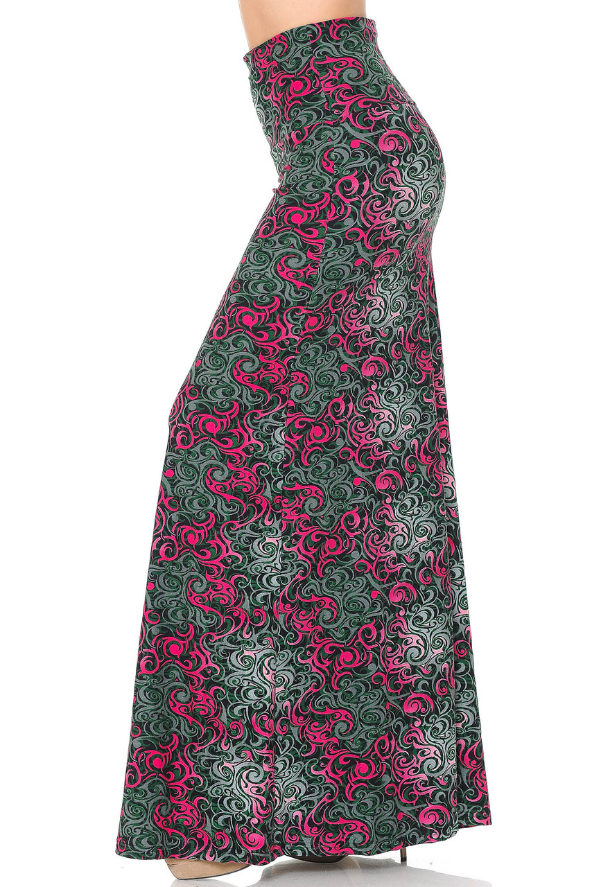 Left side of Buttery Soft Fuchsia Tangled Swirl Maxi Skirt with a gorgeous pink and gray swirl design..