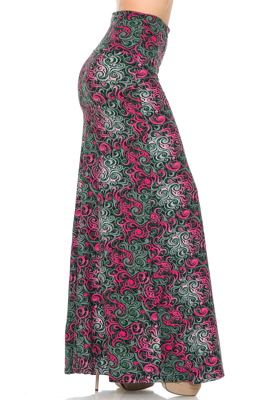 RIght side image of Buttery Soft Fuchsia Tangled Swirl Plus Size Maxi Skirt with a wonderful soft to the touch feel and comfortable looser fit.