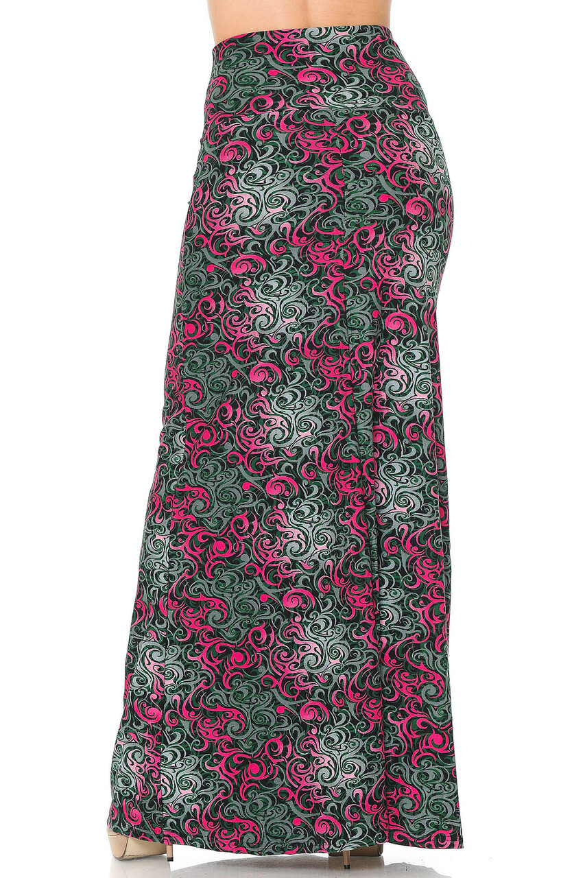 Back side mage of Buttery Soft Fuchsia Tangled Swirl Plus Size Maxi Skirt with a long hem that goes past ankle length depending on height
