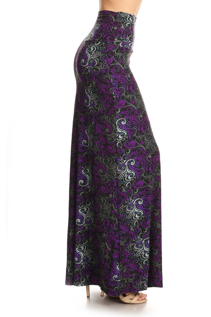 Right side of Buttery Soft Purple Tangled Swirl Maxi Skirt with a gorgeous purple and gray swirl design..