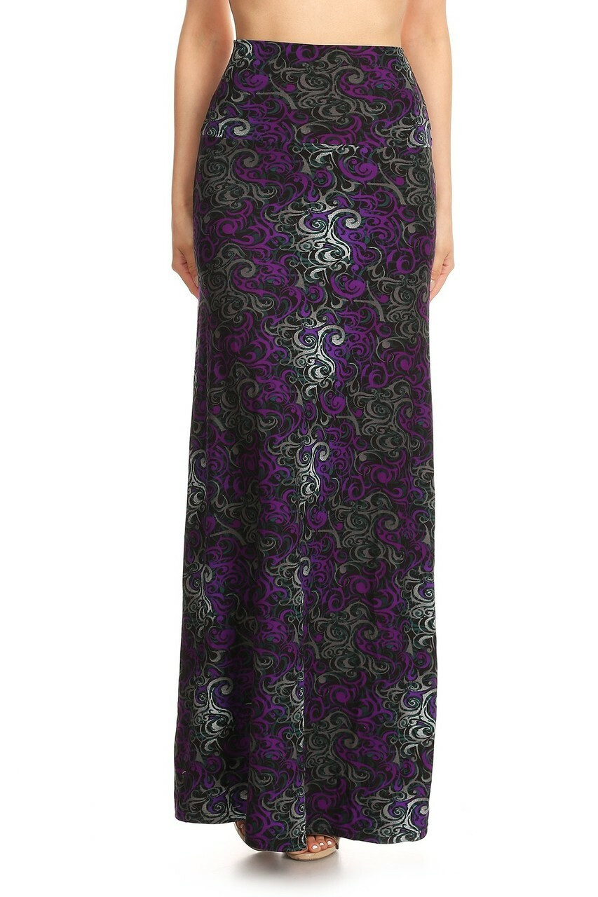 Back side image of Buttery Soft Purple Tangled Swirl Maxi Skirt with a beautiful design and color scheme to go with it.