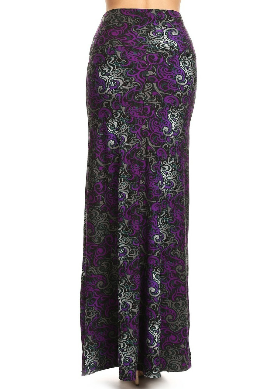 Front side image of Buttery Soft Purple Tangled Swirl Maxi Skirt with a flattering high waist design.