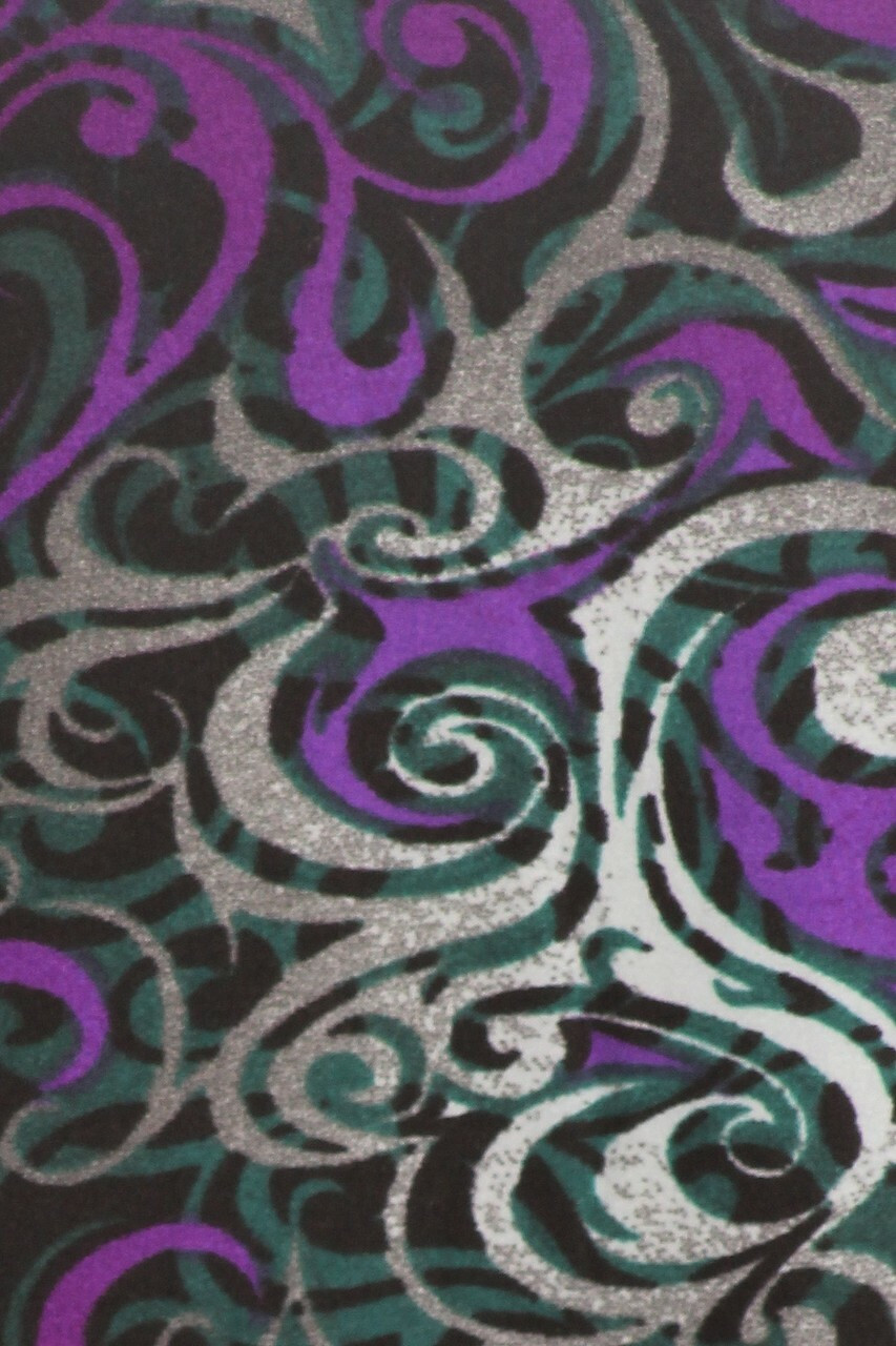CLose-up fabric swatch of Buttery Soft Purple Tangled Swirl Maxi Skirt