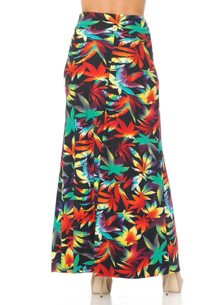 Back side image of Buttery Soft Rainbow Marijuana Plus Size Maxi Skirt with a longer past ankle length hem.