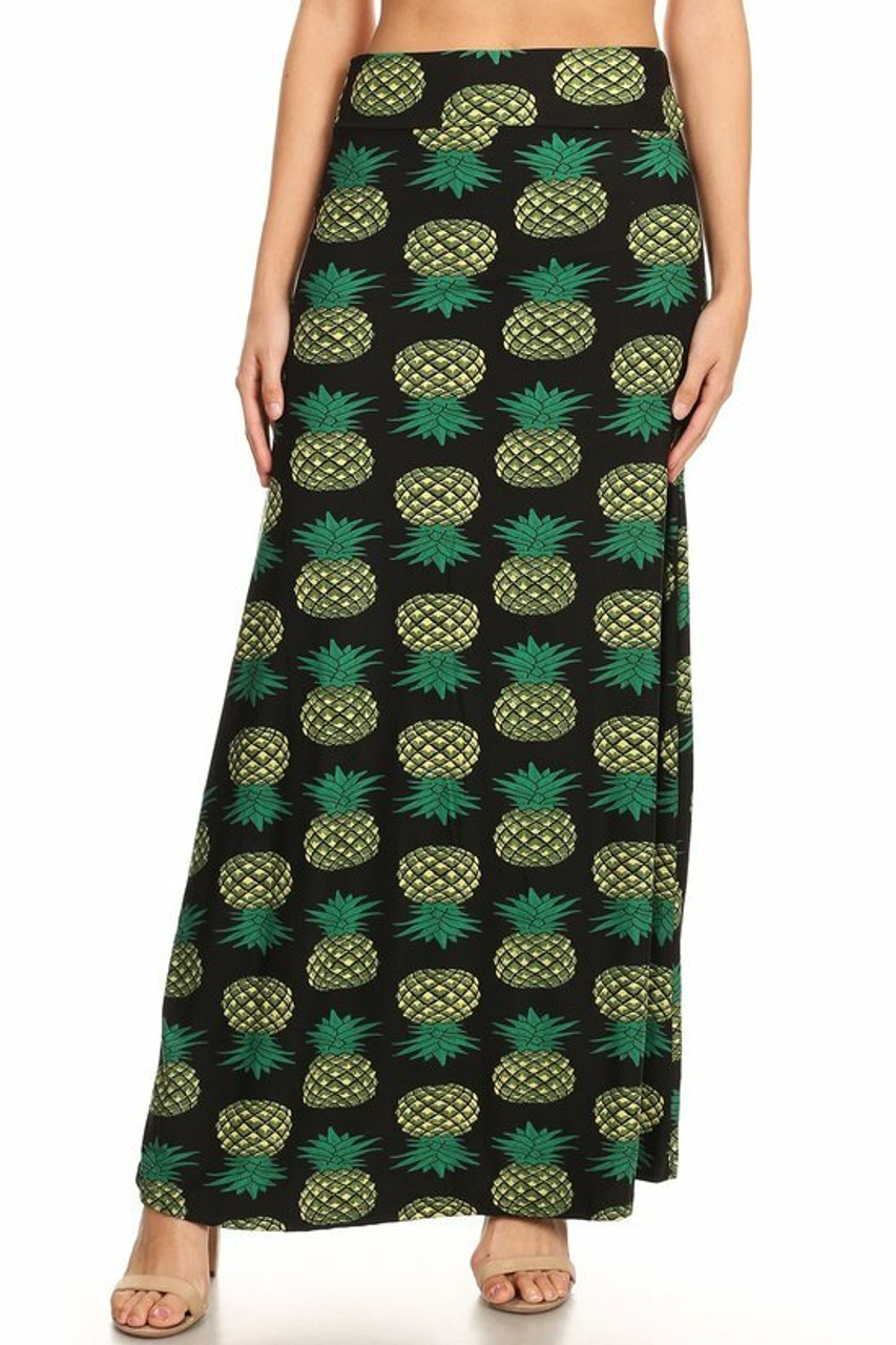 Front side image of high waisted Buttery Soft Green Pineapple Maxi Skirt