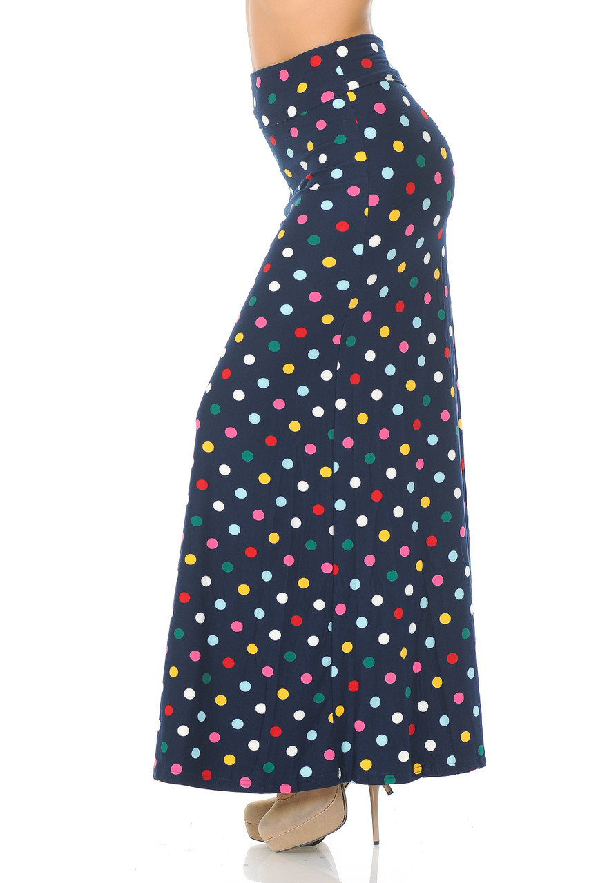Left side of Buttery Soft Colorful Polka Dot Plus Size Maxi Skirt with a multi-colored sport design on a navy fabric base.