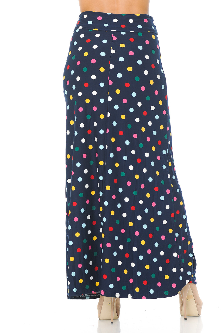 Back side image of Buttery Soft Colorful Polka Dot Plus Size Maxi Skirt