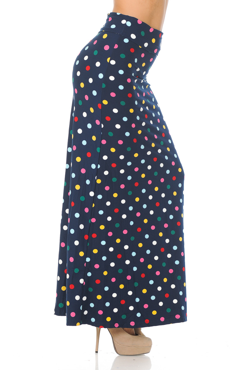 Right side of Buttery Soft Colorful Polka Dot Plus Size Maxi Skirt with a print that lends well to casual outfits as well as dressy ones.