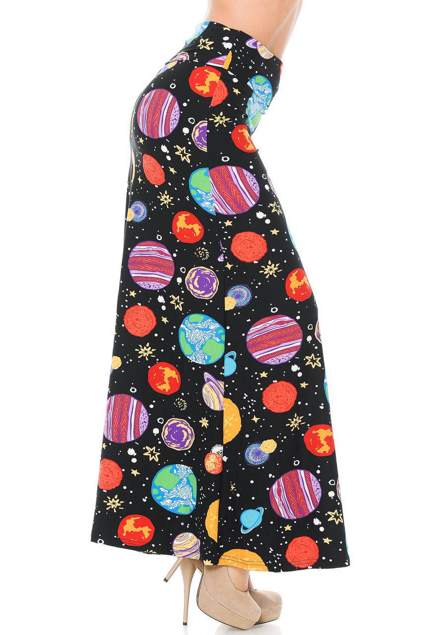 Right side of Buttery Soft Planets in Space Plus Size Maxi Skirt