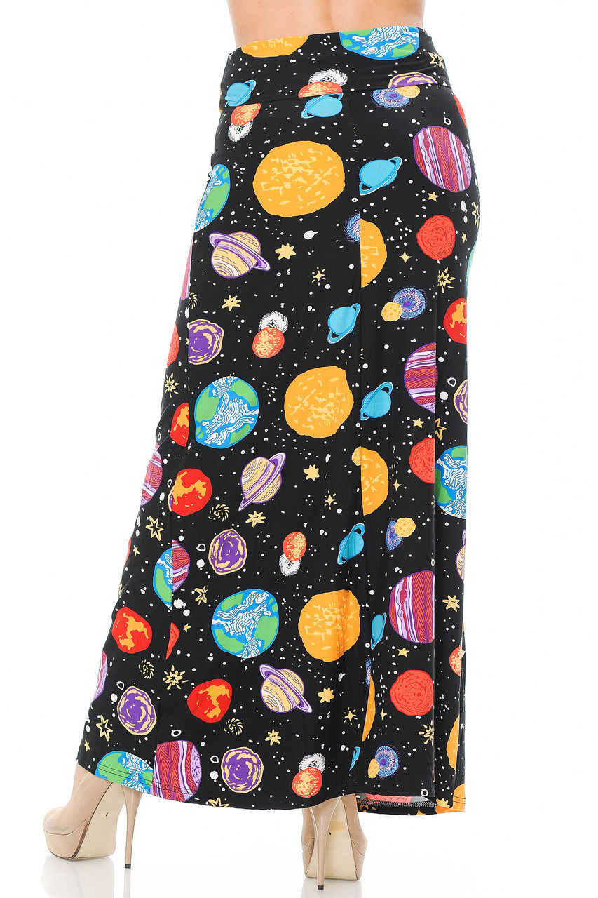 Back side image of Buttery Soft Planets in Space Plus Size Maxi Skirt featuring a below ankle length hem depending on height.