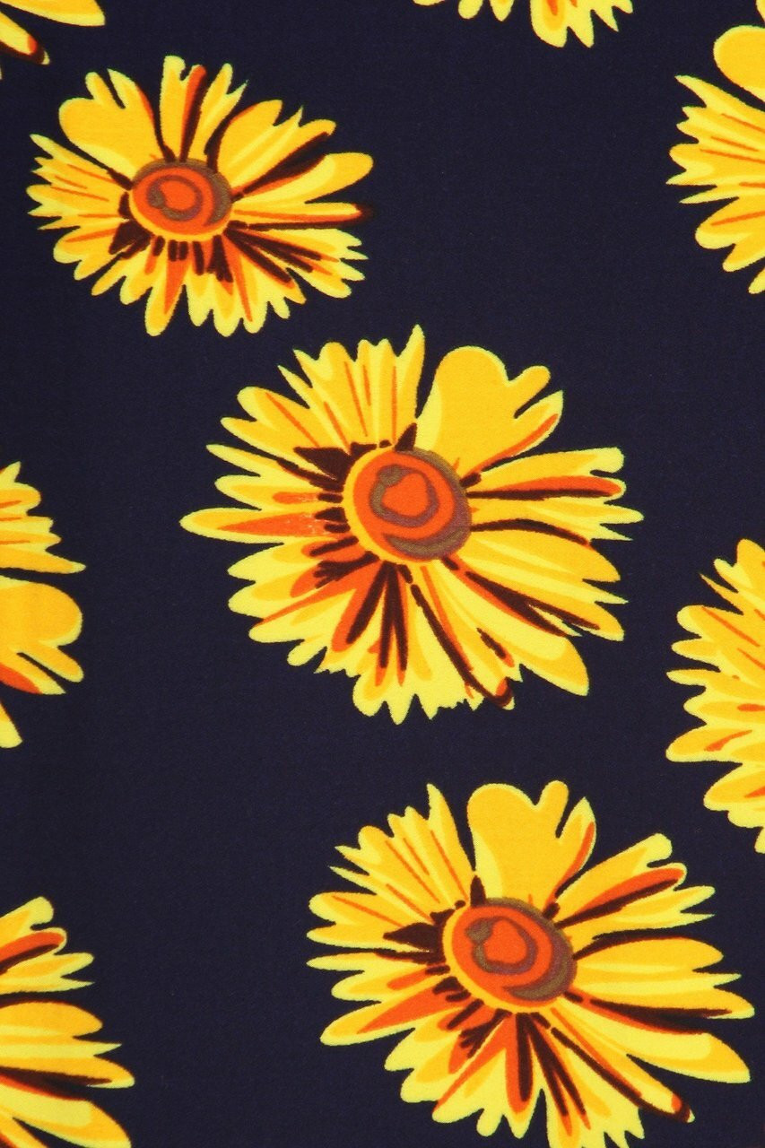 CLose-up swatch of Buttery Soft Summer Daisy Plus Size Maxi Skirt