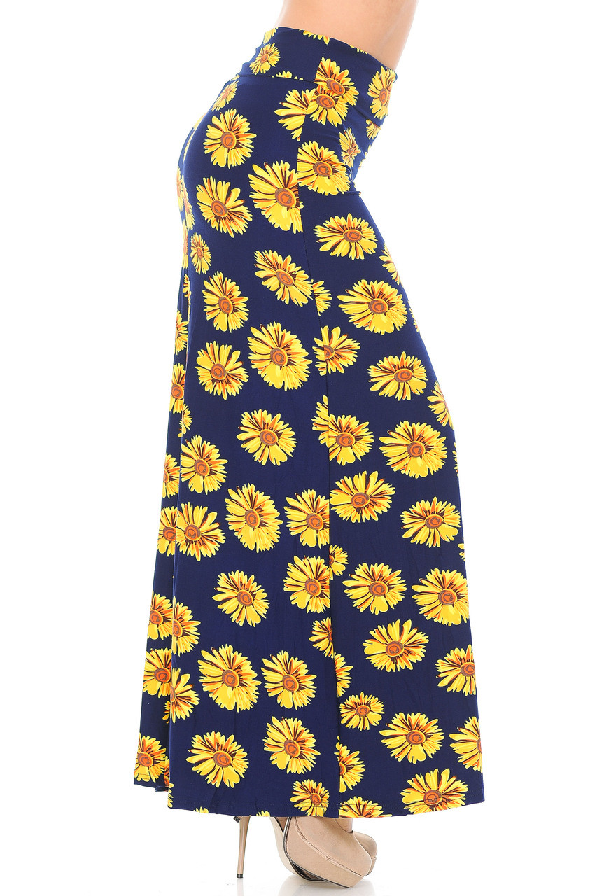 Right side of Buttery Soft Summer Daisy Plus Size Maxi Skirt