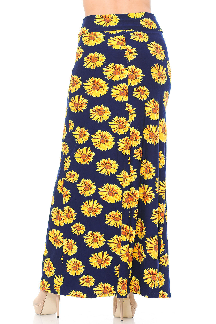 Back side image of Buttery Soft Summer Daisy Plus Size Maxi Skirt