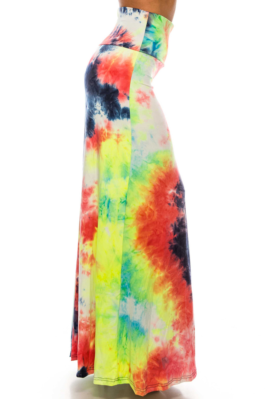 Buttery Soft Colorful Summer Tie Dye Plus Size Maxi Skirt with a gorgeous vibrant fabric design..with a gorgeous colorful fabric design..