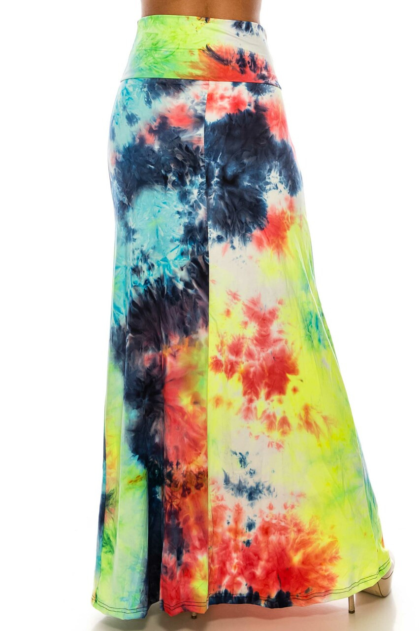 Back side image of Buttery Soft Colorful Summer Tie Dye Plus Size Maxi Skirt with a long below the ankle hem.