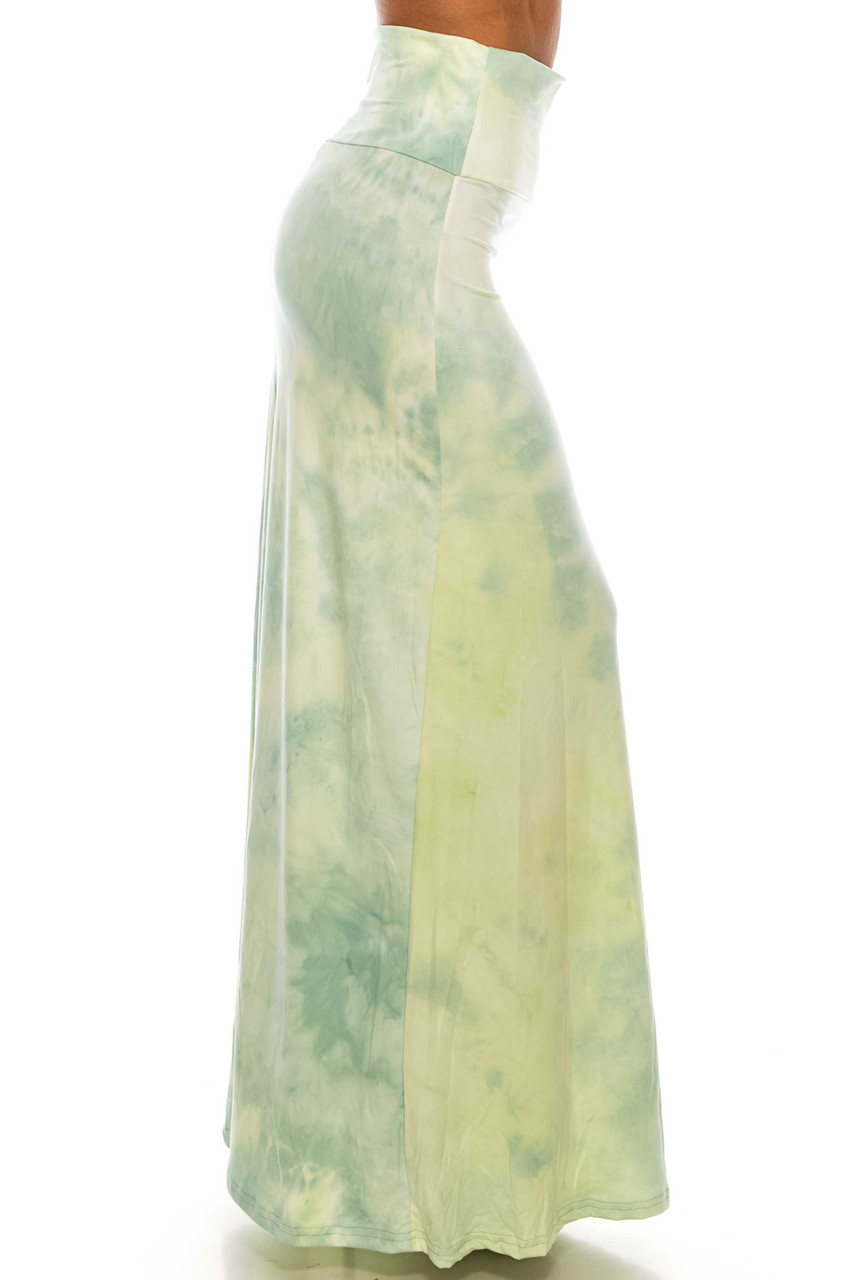 Right side of Buttery Soft Mint Tie Dye Plus Size Maxi Skirt with a gorgeous pastel green color scheme.