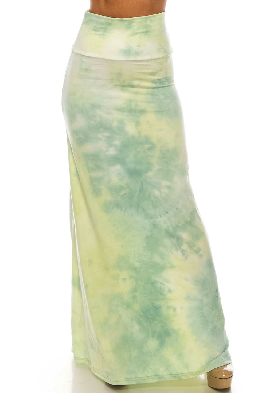 Front side of Buttery Soft Mint Tie Dye Plus Size Maxi Skirt with a high fabric waist design.
