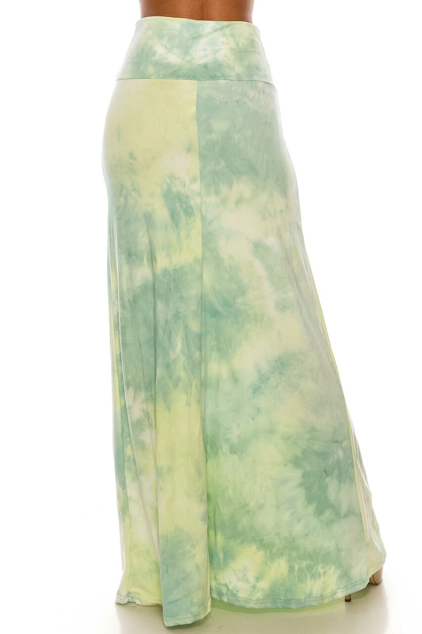 Back side image of Buttery Soft Mint Tie Dye Plus Size Maxi Skirt with a long below ankle length hem.