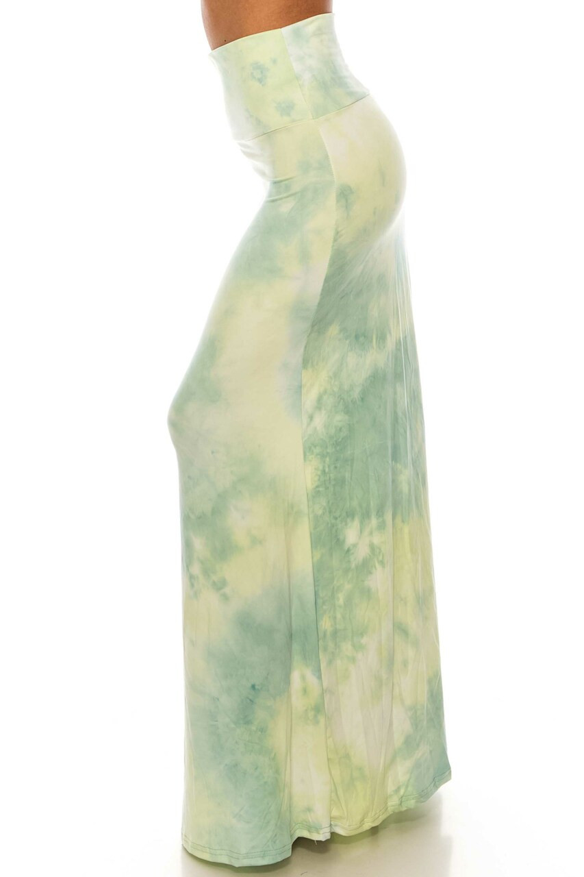 Left side of Buttery Soft Mint Tie Dye Plus Size Maxi Skirt with a super soft and comfy fabric and beautiful design.
