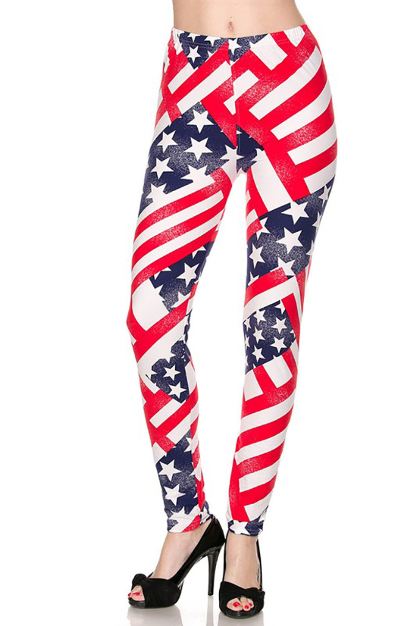Front side image of Patriot USA Flag Leggings with an amazing and eye-catching stars and stripes design.
