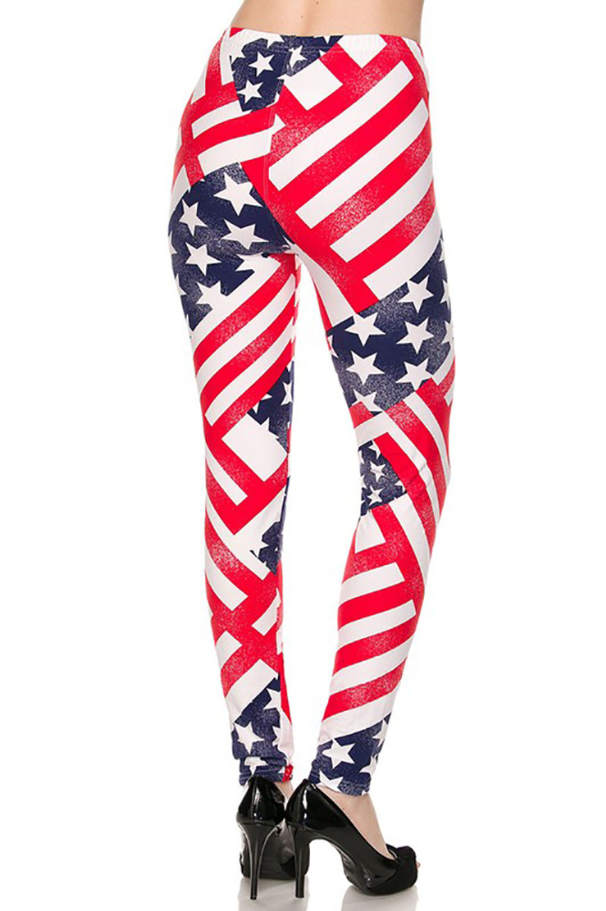 Back side image of Patriot USA Flag Leggings with an All-American red, white, and blue design.