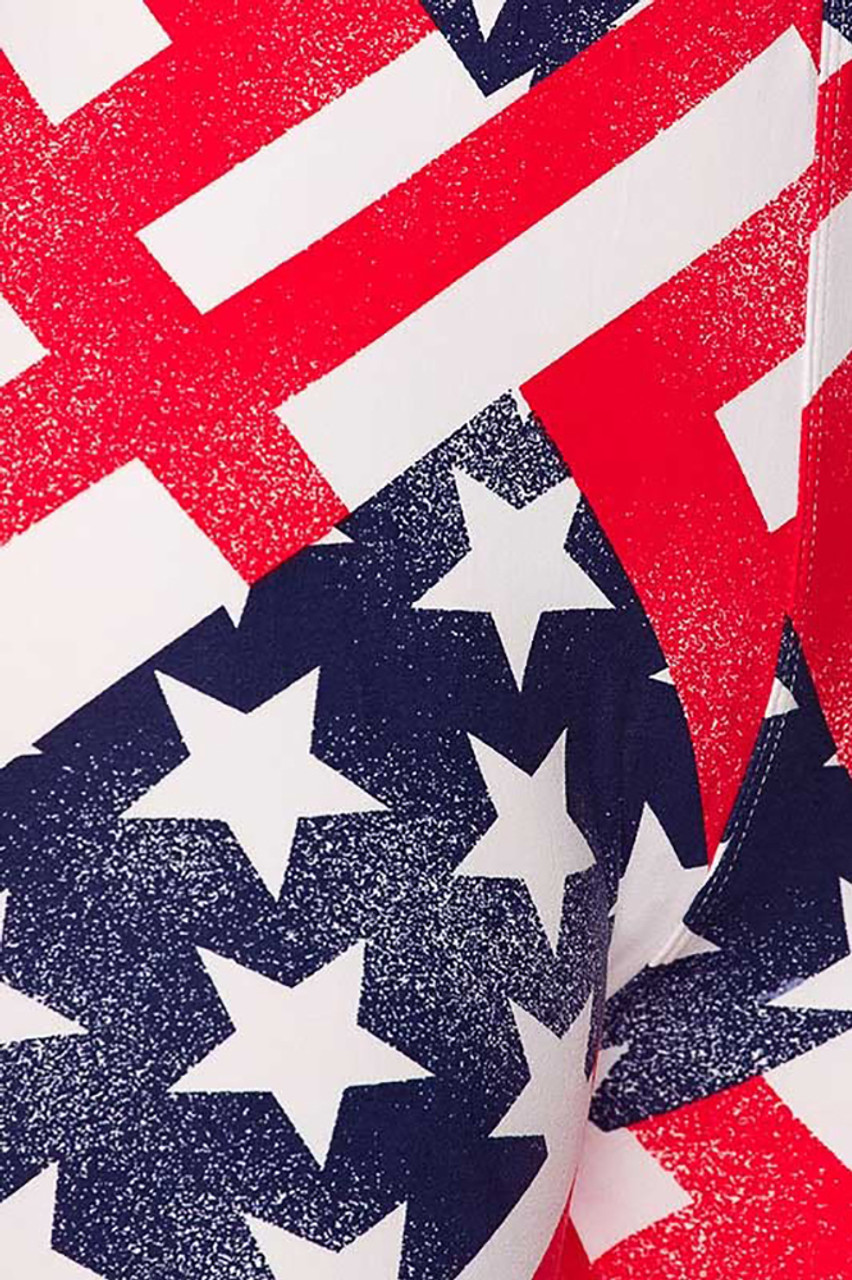 Close-up swatch of Patriot USA Flag Leggings