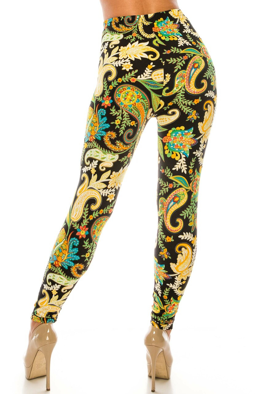 Back side image of Buttery Soft Lustered Leaf Leggings with a figure flattering fitted cut.