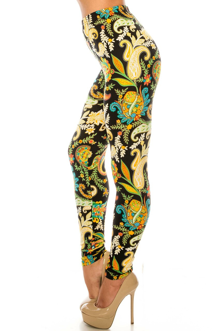 Left side of Buttery Soft Lustered Leaf Leggings with a super soft and comfy feel and amazing design.