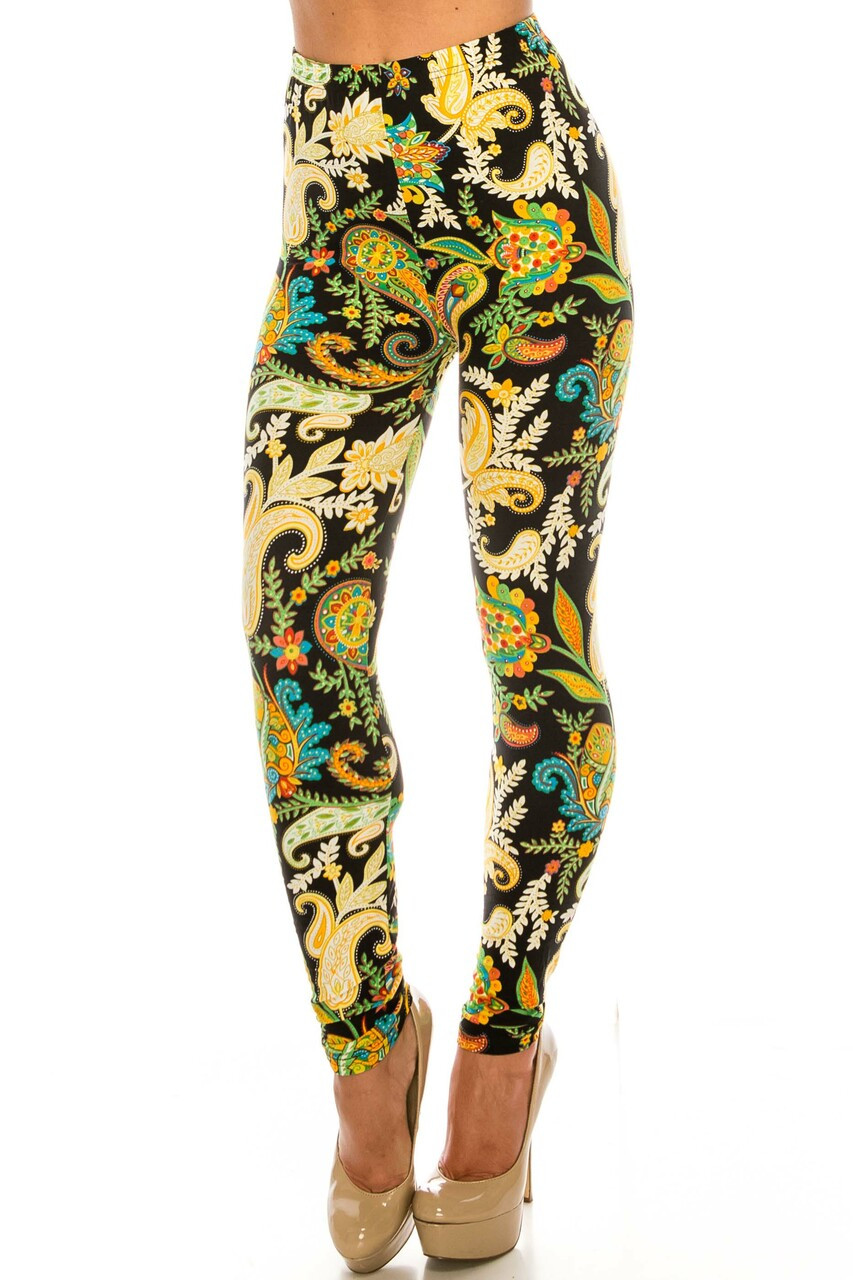 45 degree front side image of Buttery Soft Lustered Leaf Plus Size Leggings