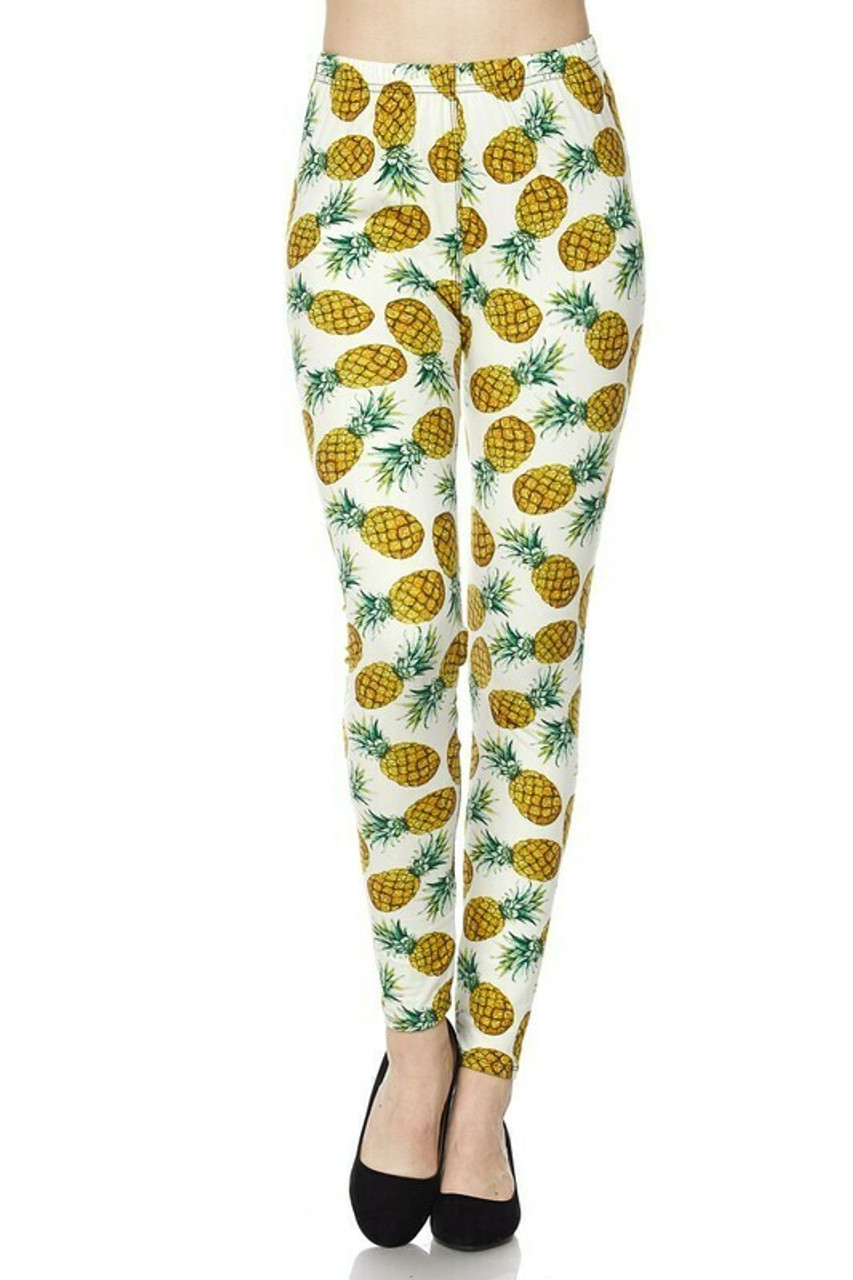 Front sid eimage of Buttery Soft Ivory Pineapple Plus Size Leggings