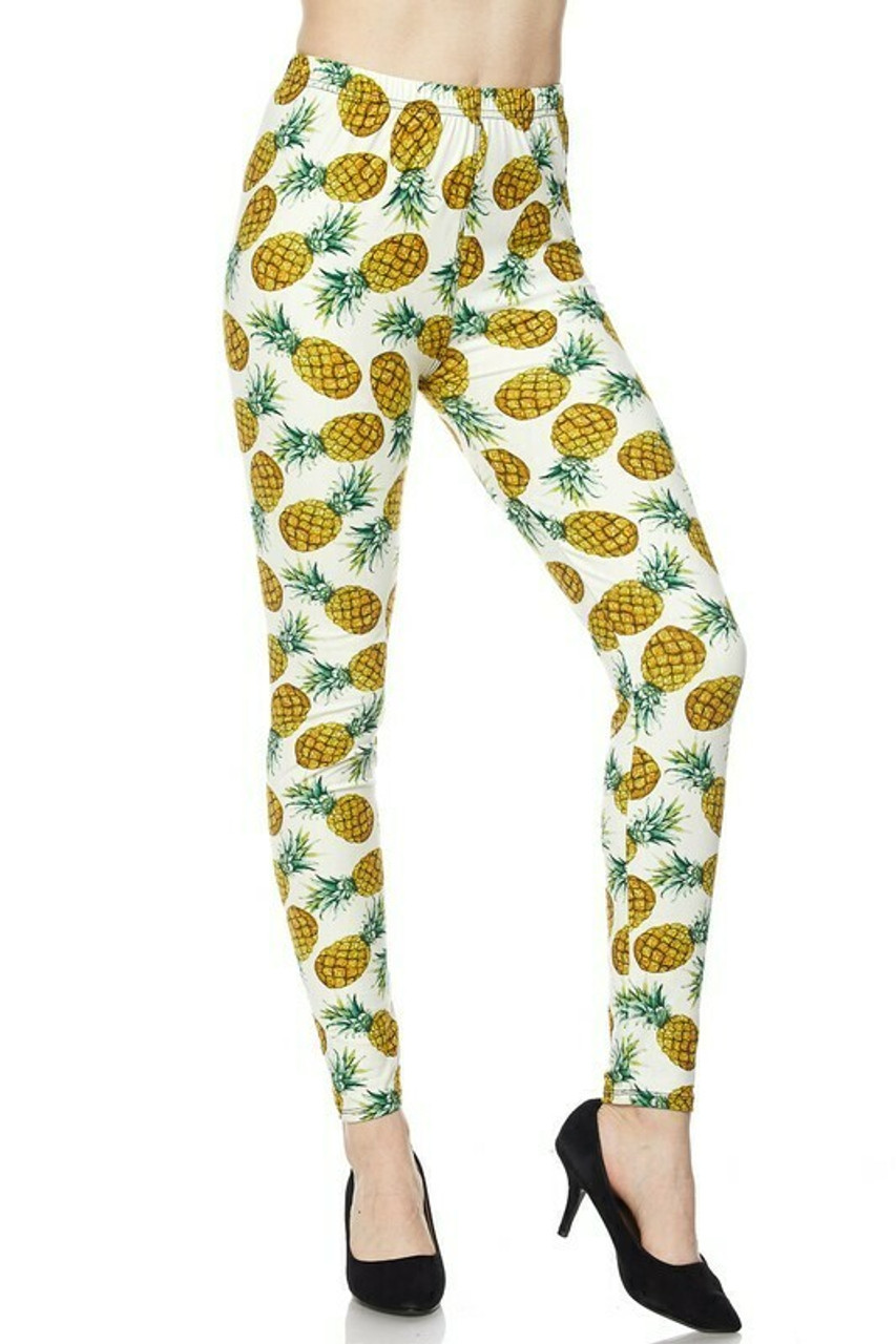 Front of Buttery Soft Ivory Pineapple Plus Size Leggings with a fitted skinny leg design.