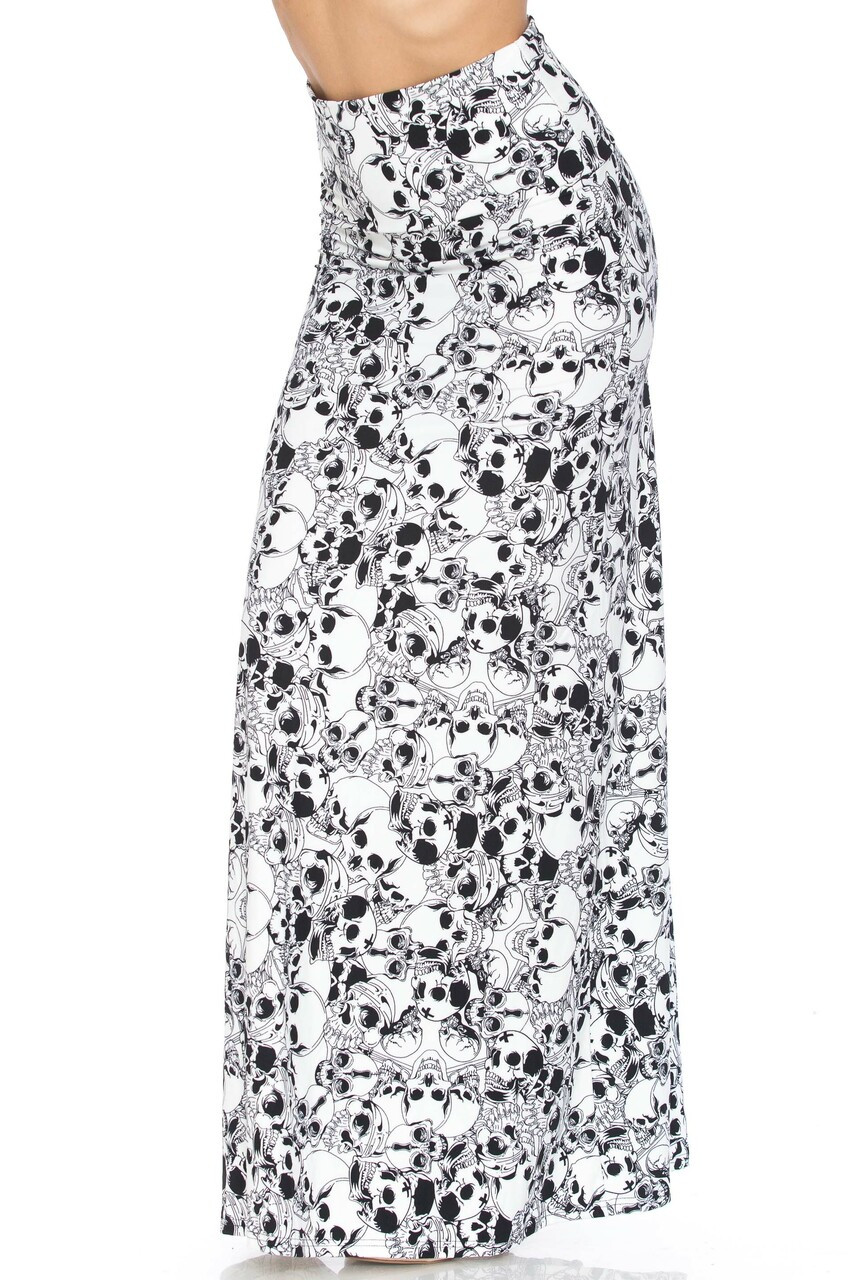 45 degree view of Buttery Soft White Layers of Skulls Maxi Skirt.
