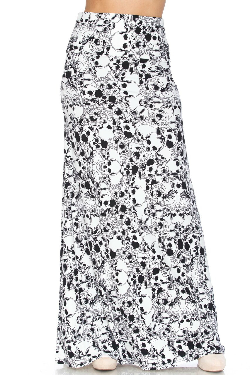 Front of Buttery Soft White Layers of Skulls Plus Size Maxi Skirt with a long hem that hits below the ankle.